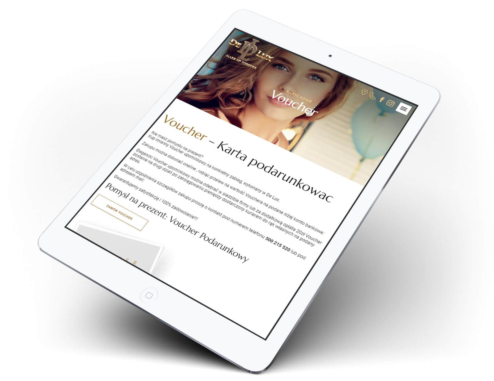 De Lux projekt strony internetowej salonu medycyny estetycznej