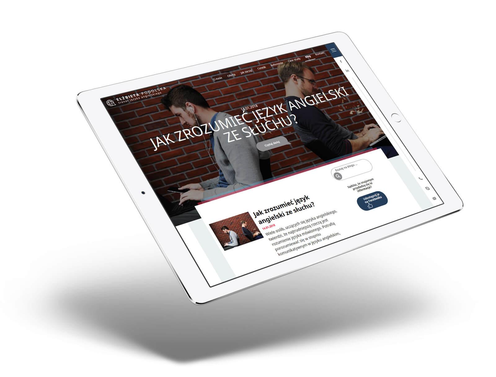 Elżbieta Podolska - strona internetowa na tablecie