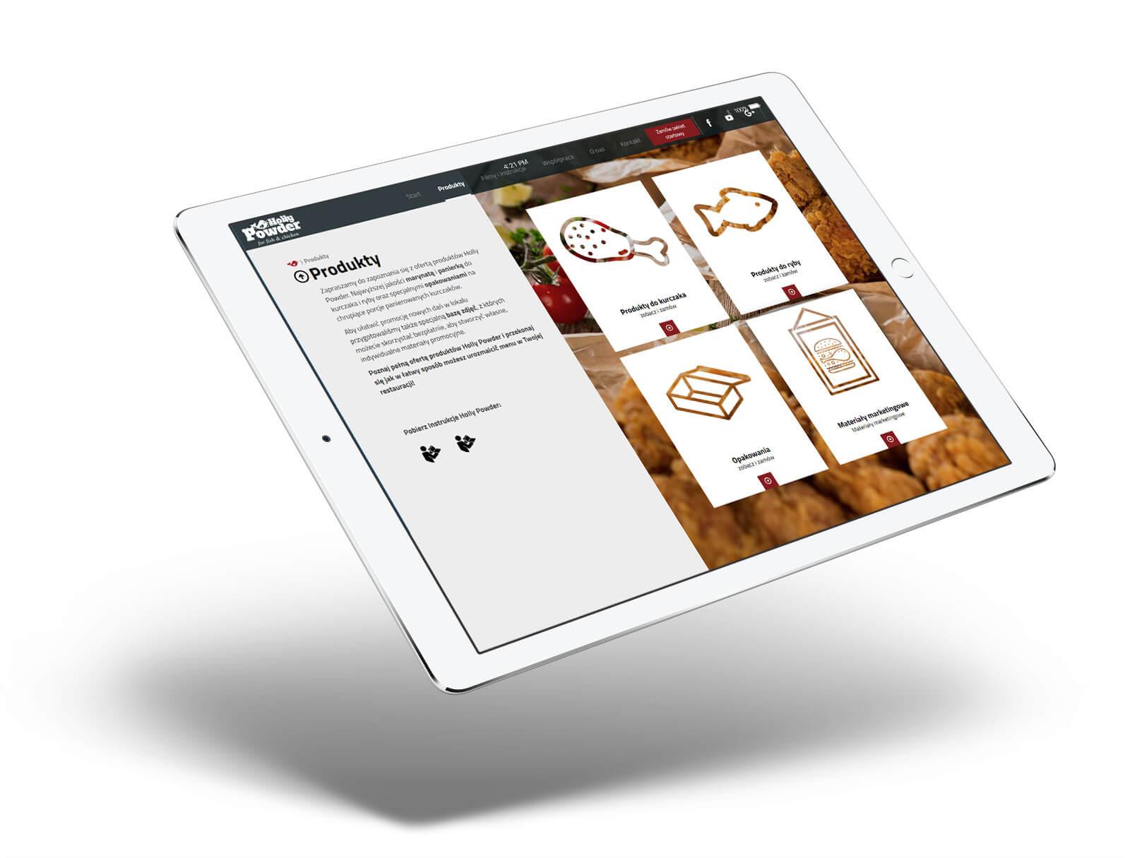 Holly Powder wizualizacja projektu strony www - podstrona produktowa