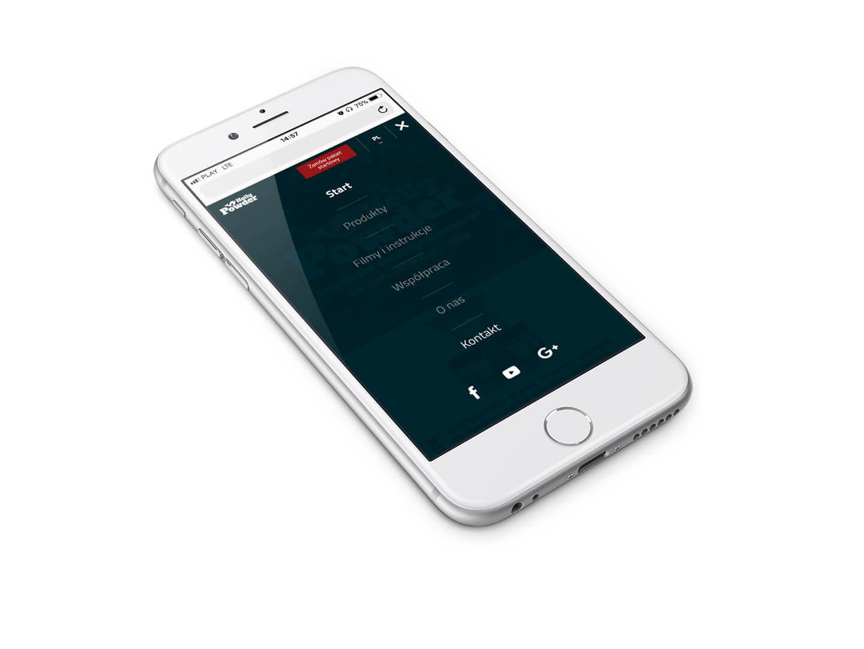 Wizualizacja mobilnego menu na telefonie - Holly Powder by Cartel