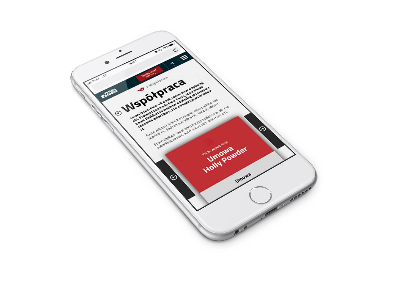 Widok mobilnego układu strony www dla producenta posypki do kurczaka Holly Powder grupy Cartel