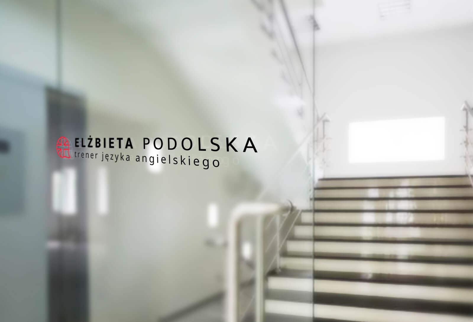 Elżbieta Podolska - wizualizacja nowego logo na szybie