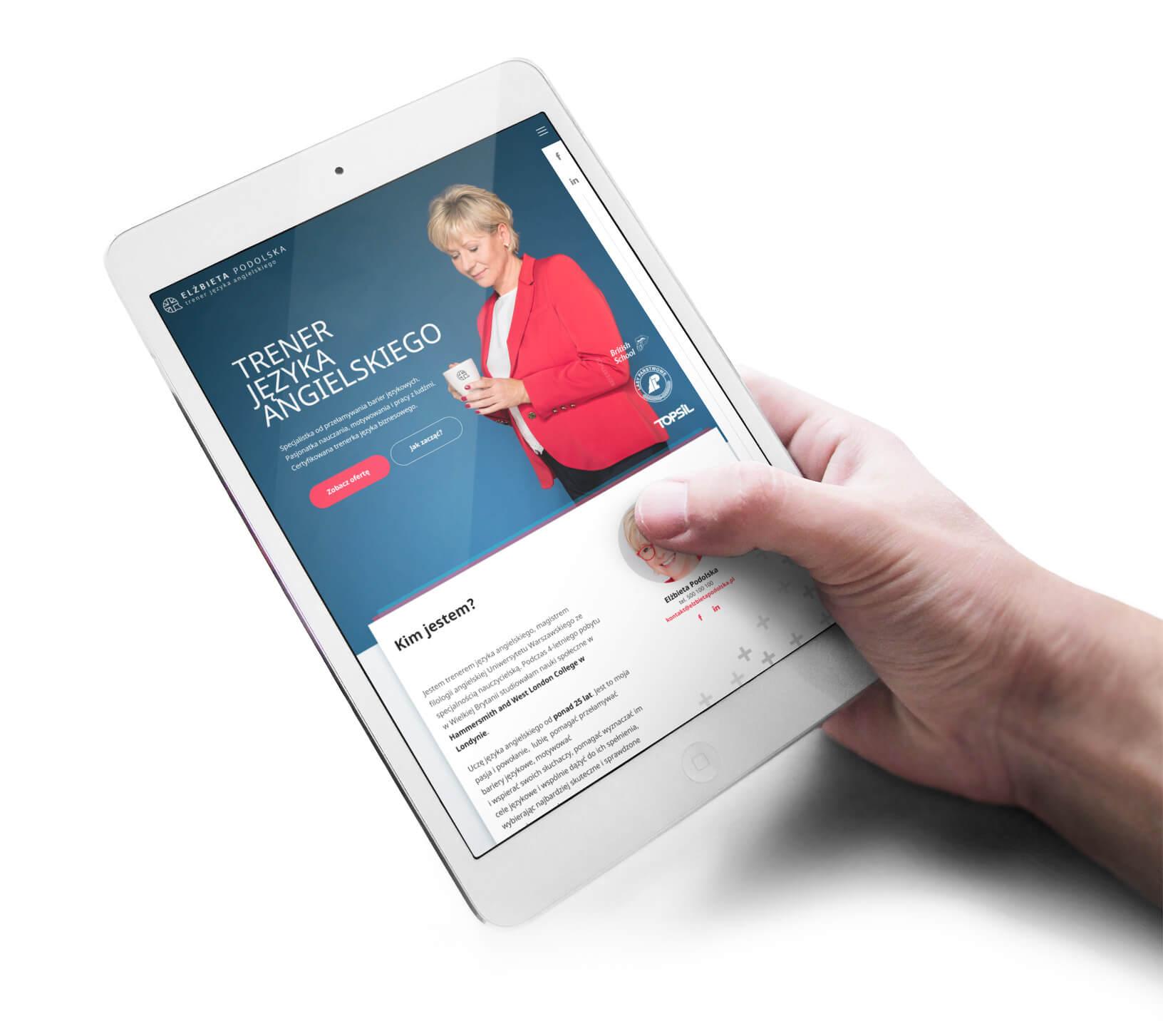Elżbieta Podolska - projekt strony pokazany na tablecie