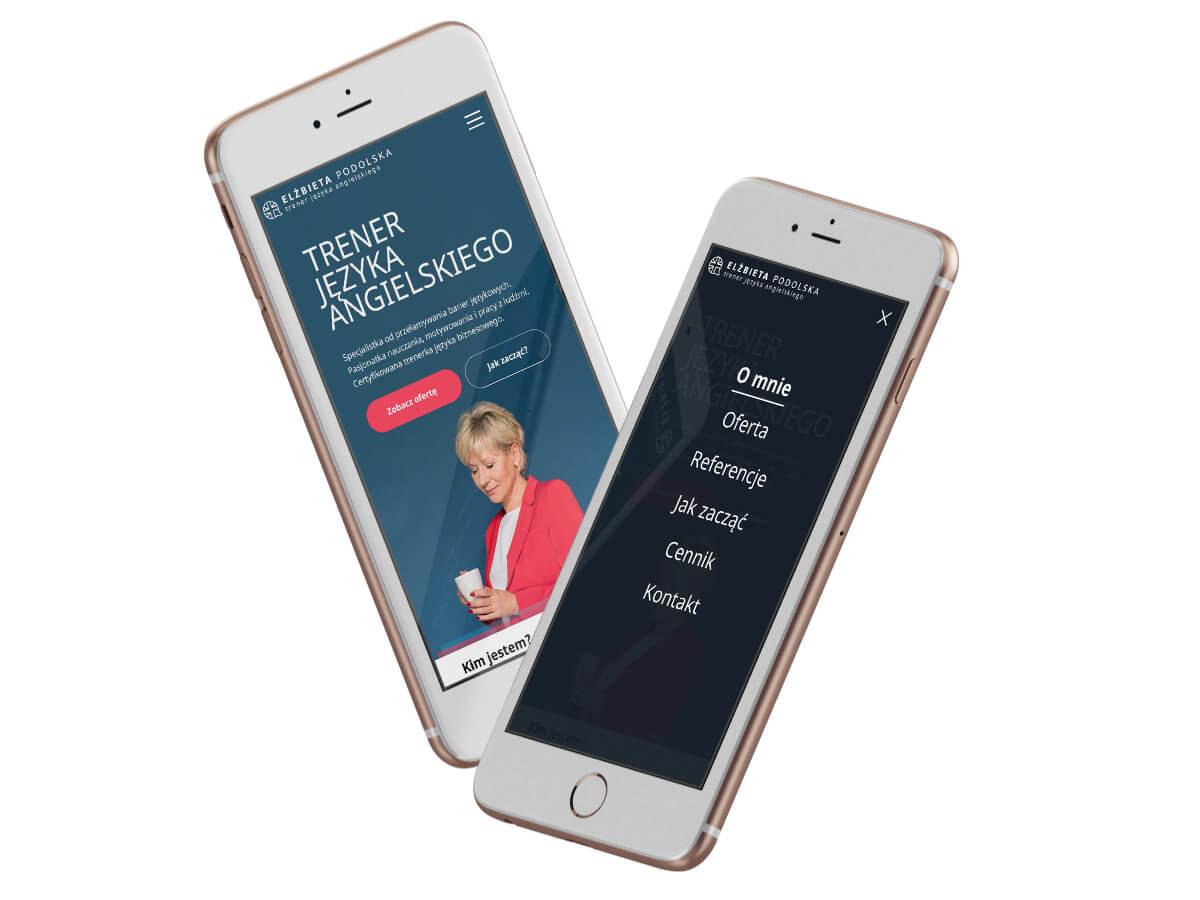 Wizualizacja strony Elżbieta Podolska na telefonie