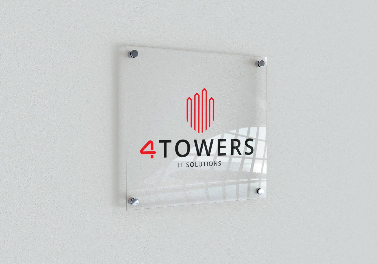 Mockap tabliczki przydrzwiowej z wizualizacją logo 4towers
