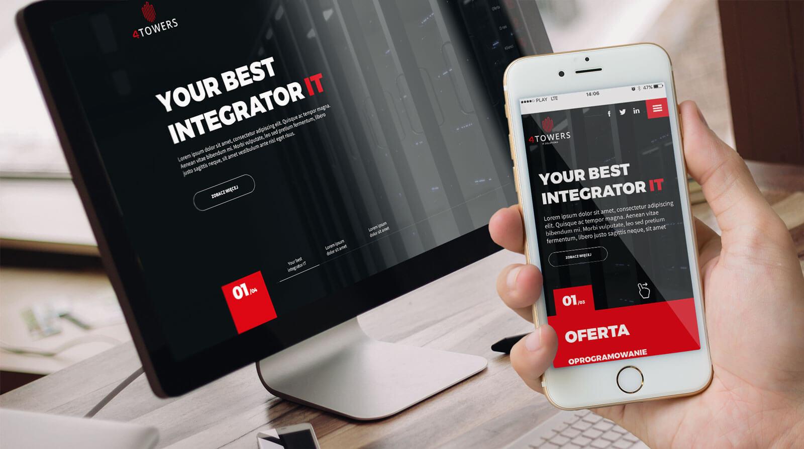 Rzut projektu strony www dla 4towers - integratora rozwiązań IT