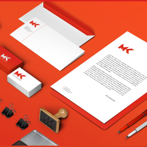 MK Construction - corporate identity / identyfikacja wizualna firmy: wizytówki, papier firmowy, pieczątka, koperty