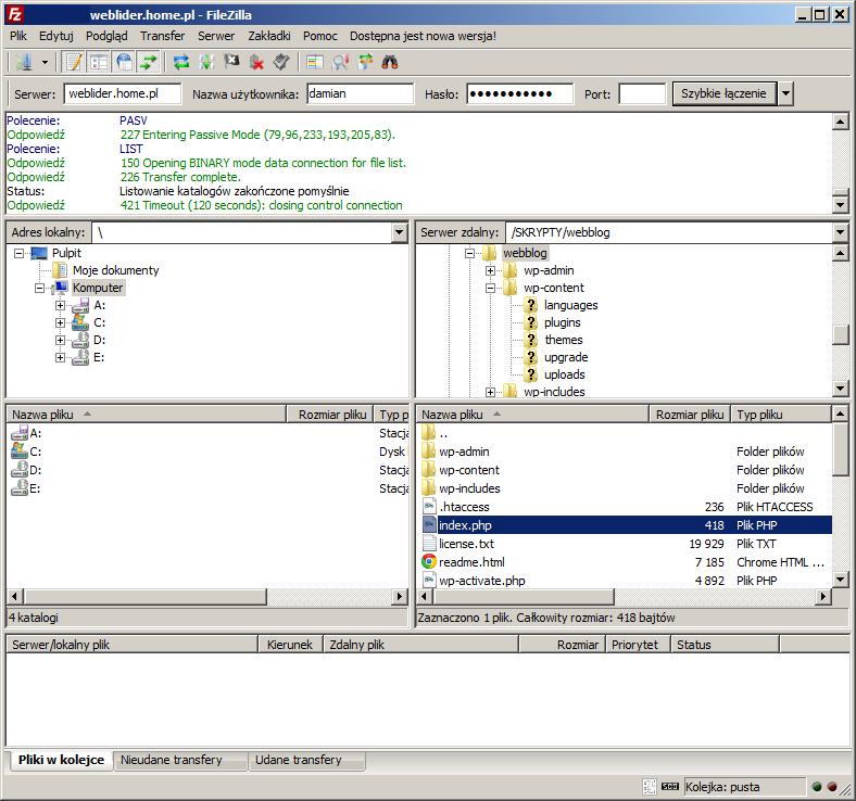 transfer plików po FTp przy użyciu FilleZilla