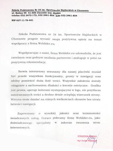 Szkoła Podstawowa nr 34 w Chorzowie - referencje