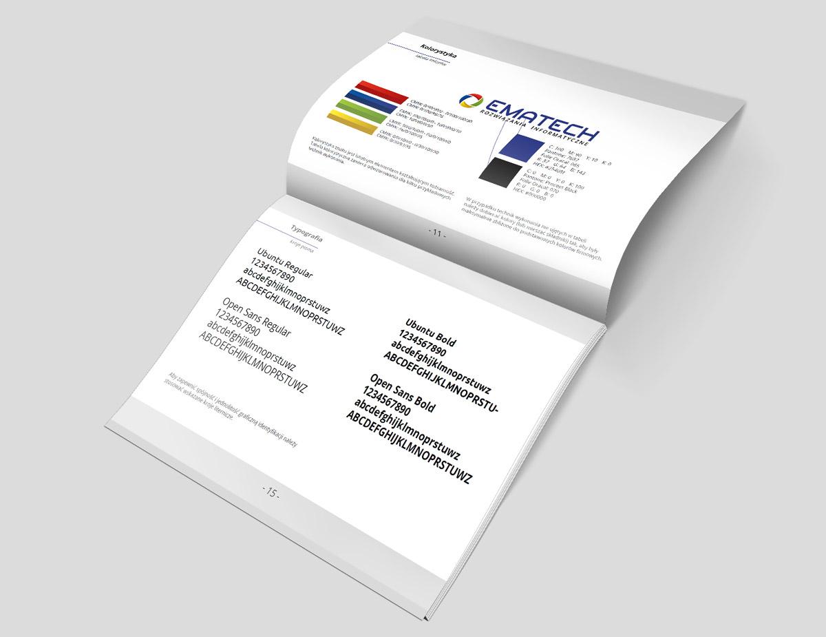 Ematech - identyfikacja wizualna, opisane logo