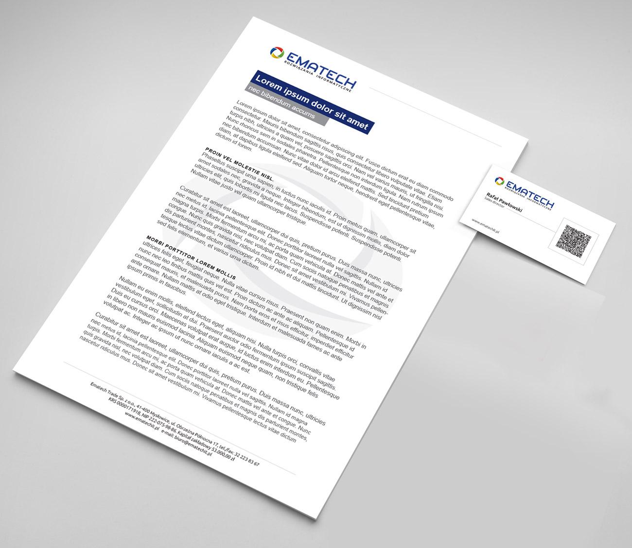 Ematech - papier firmowy i wizytówki