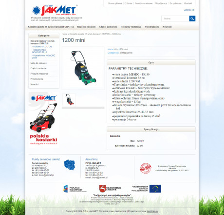 Projekt sklepu internetowego Jakmet