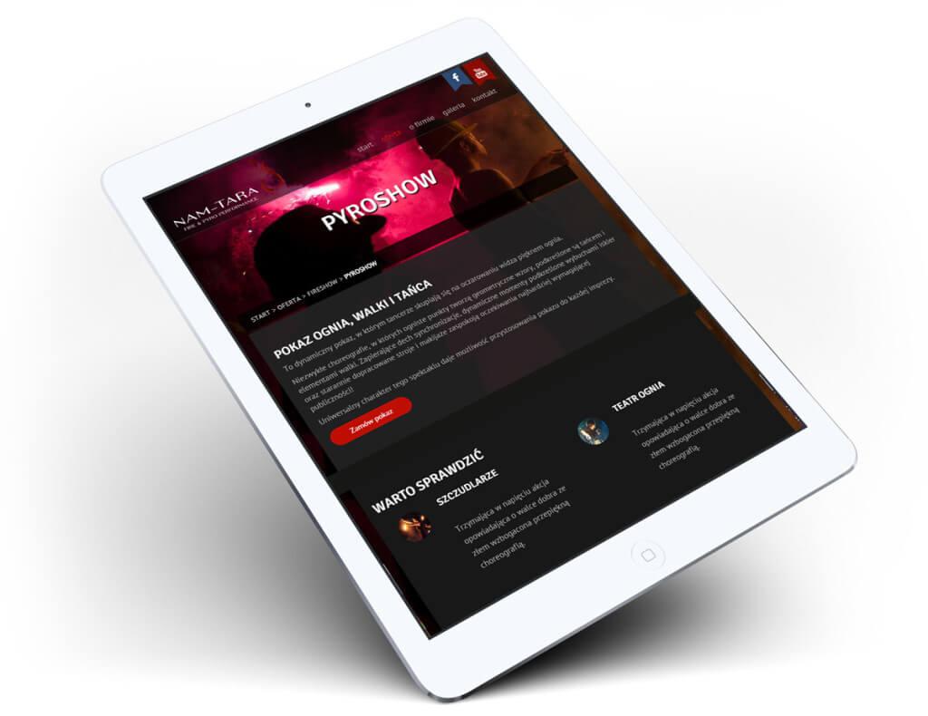 Projekt strony internetowej na tablecie