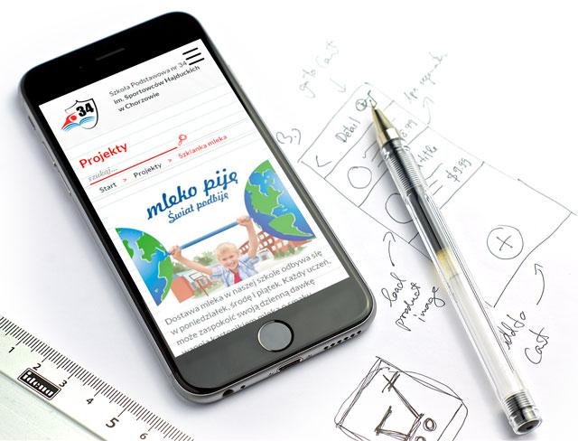 Strona internetowa na iPhonie - SP 34 Chorzów