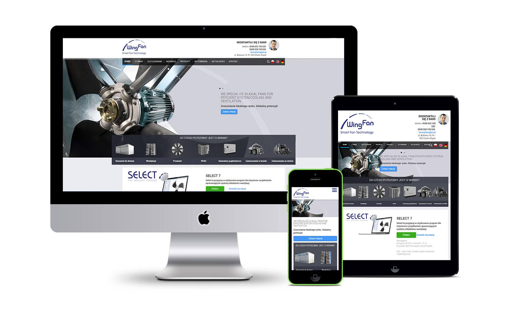 Wingfan - projekt responsywnej strony internetowej
