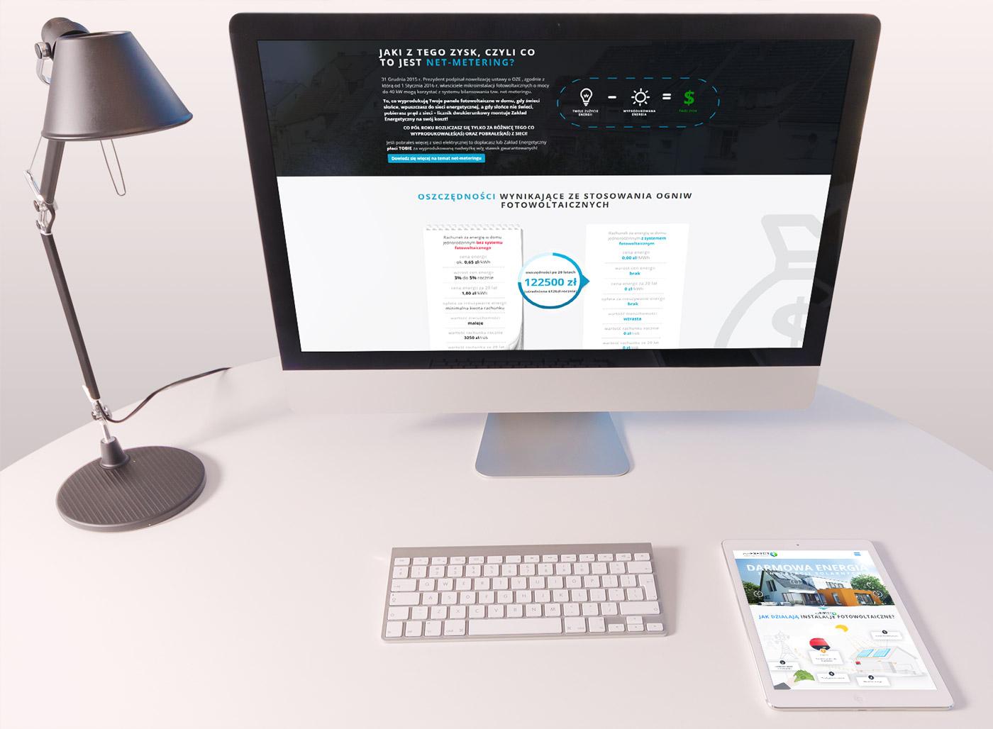 evoenergy strona internetowa - responsywność na komputerze i tablecie