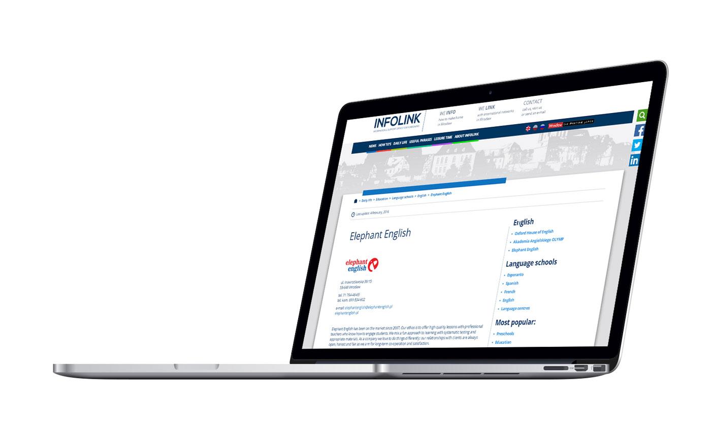 Serwis internetowy Infolink na komputerze