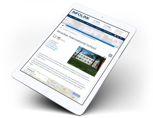 Projekt serwisu internetowego przedstawiony na tablecie