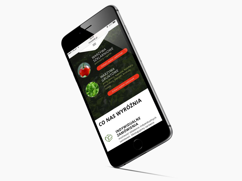 Rozsadnik.pl - strona internetowa RWD mobilna na telefonie