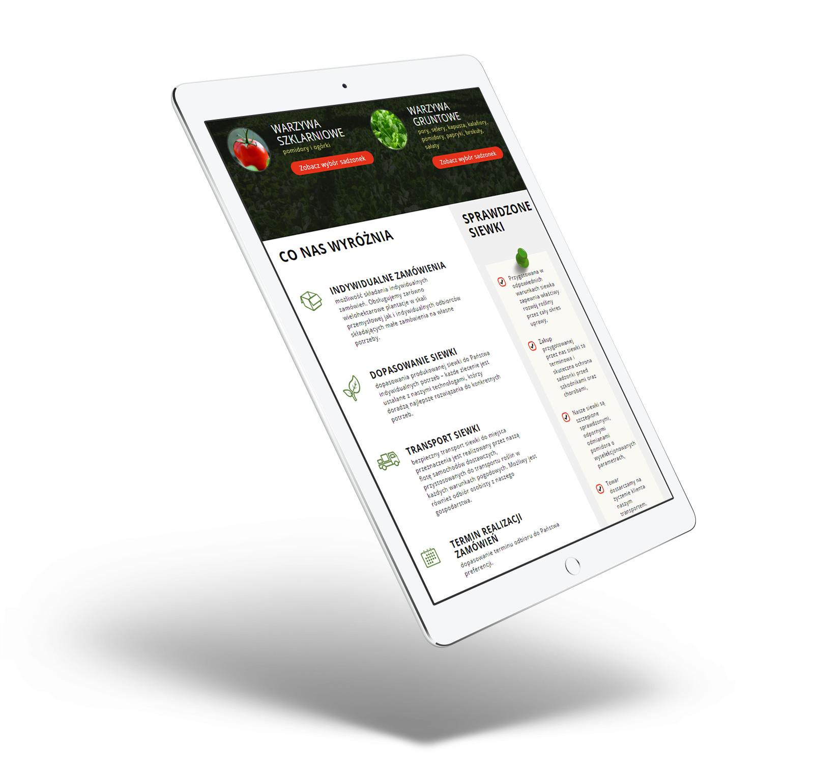 Rozsadnik.pl - strona internetowa w wersji mobilnej na tablecie