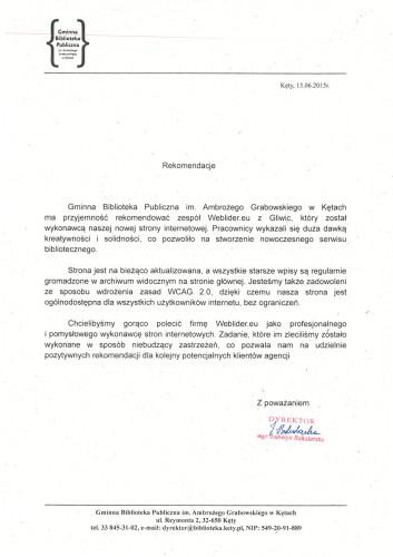 Referencje od Gminnej Biblioteki Publicznej w Kętach