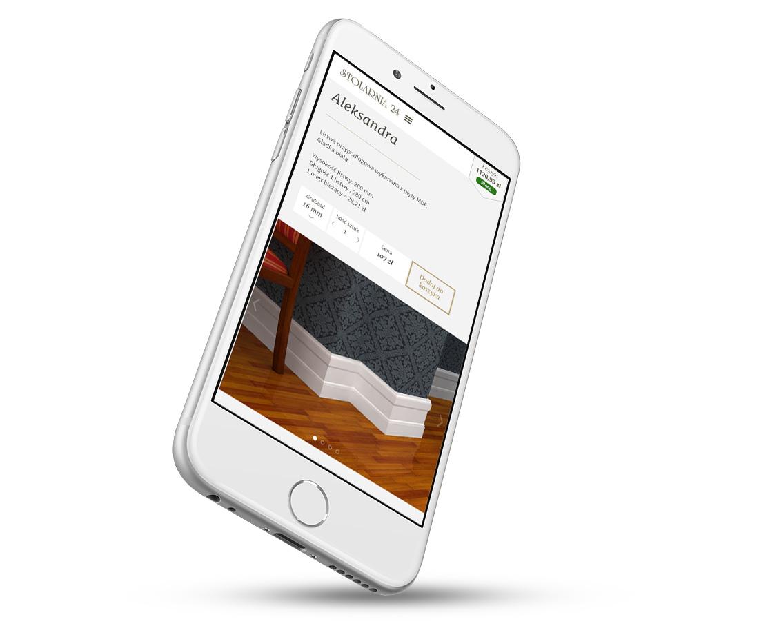 Sklep internetowy - widok kategorii na telefonie