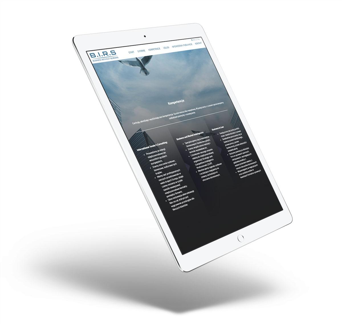 BIRS - strona internetowa zaprojektowana na tablet