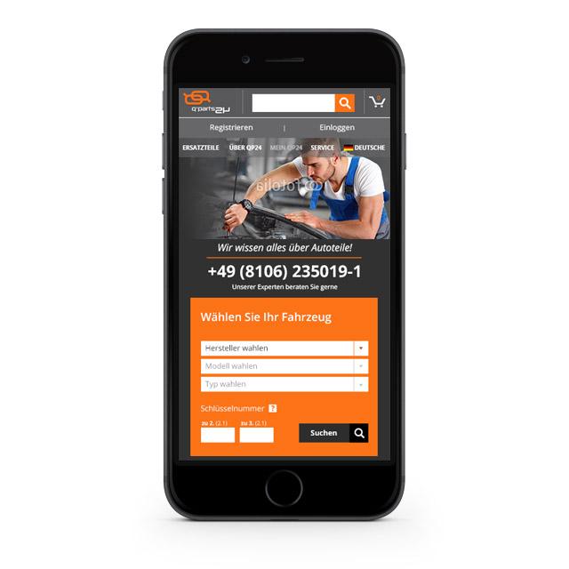 qp24 - wersja mobilna sklepu internetowego - widok na telefonie iPhone
