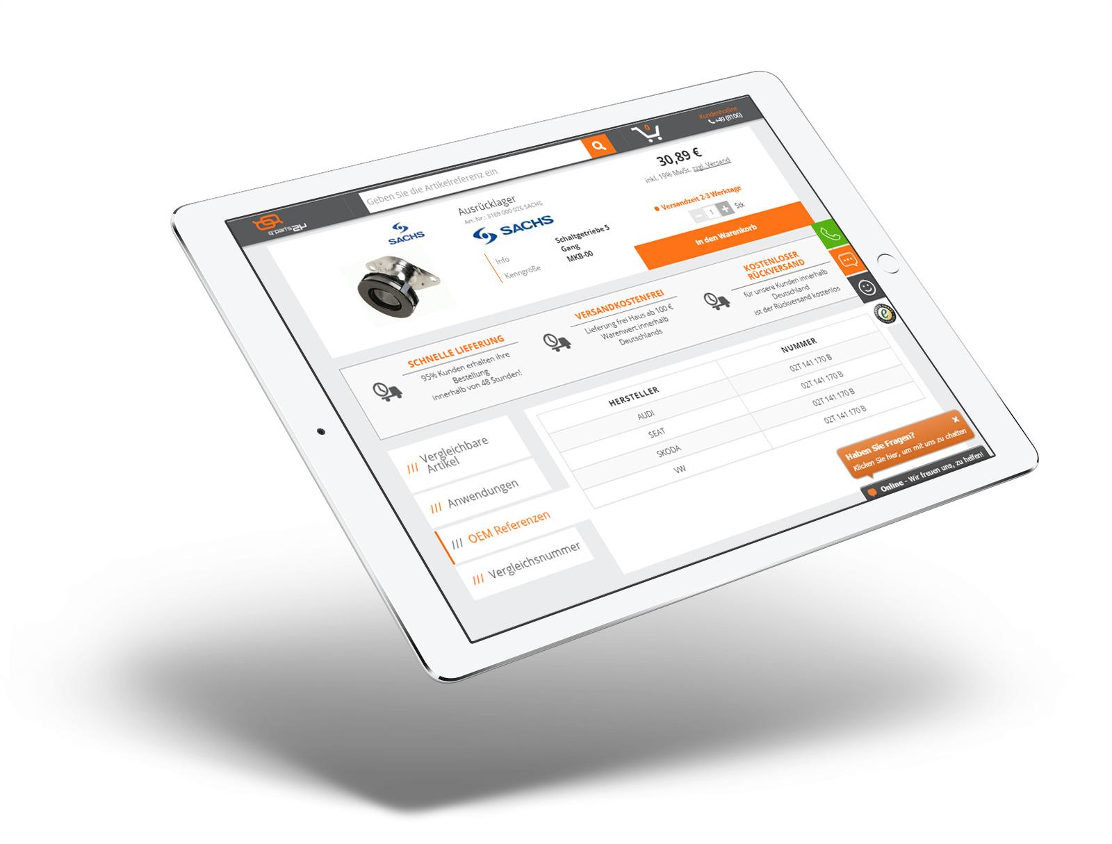 Qparts24 - widok sklepu internetowego na tablecie - qparts24