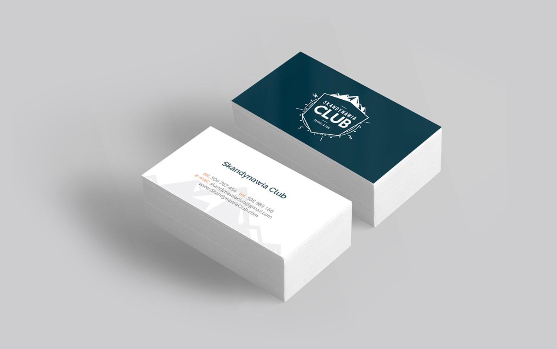 Skandynawia Club - projekt wizytówek w ramach identyfikacji wizualnej CI