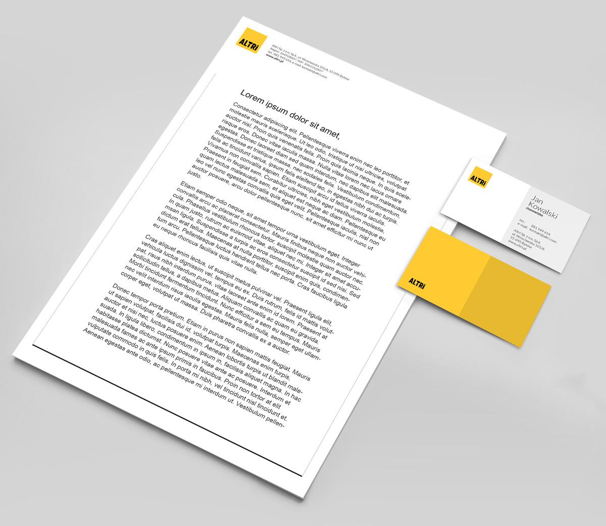 Altri - identyfikacja wizualna - projekt papieru firmowego i wizytówek