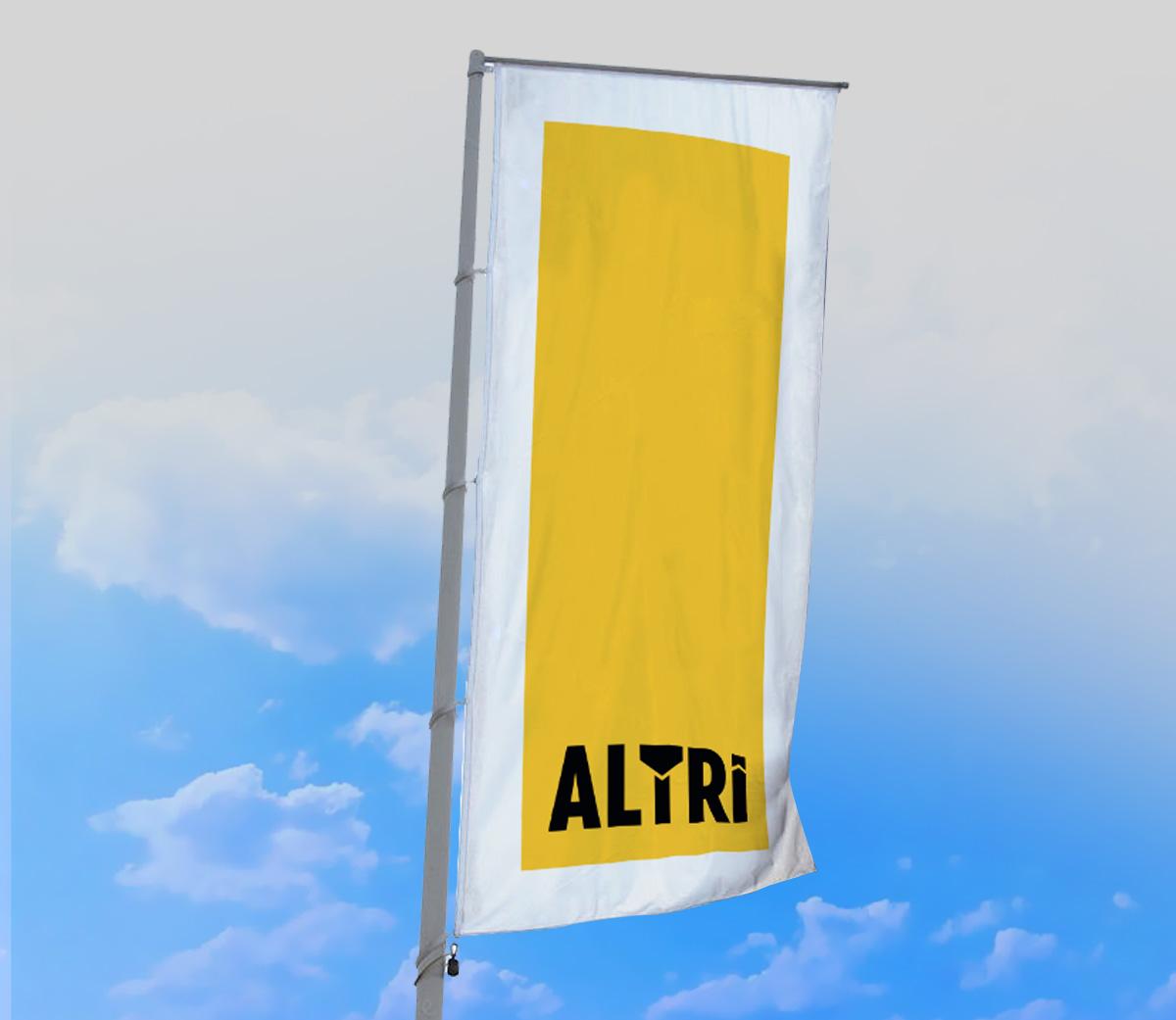 Altri - corporate identity - projekt flagi firmowej, reklama zewnętrzna