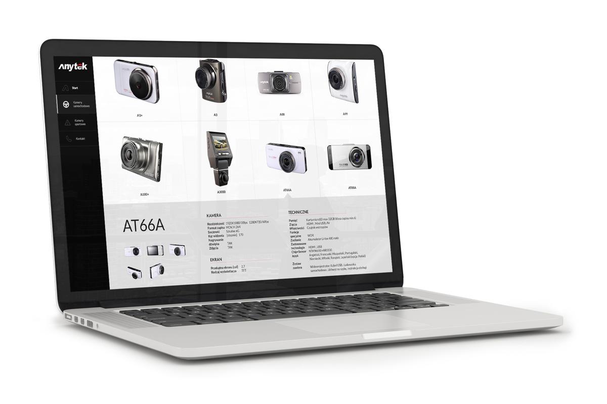 Wizualizacja strony www z produktami, strona wykonana na WordPress - Anytek, strona internetowa
