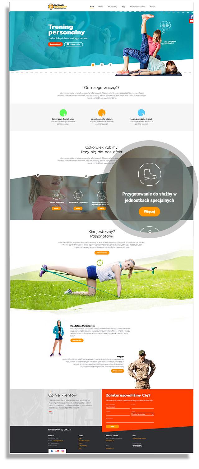 Napędzamy do zmiany - projektowanie strony internetowej dla coachingu, treningu personalnego