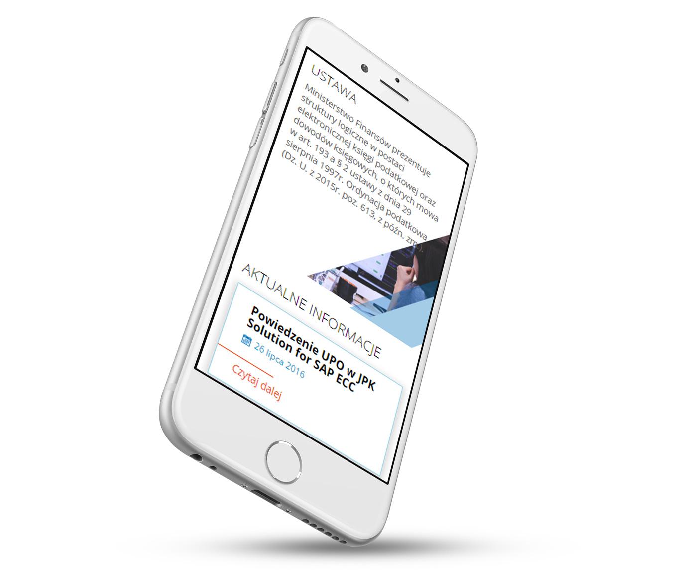SAP-JPK - strona internetowa wizualizacja na telefonie