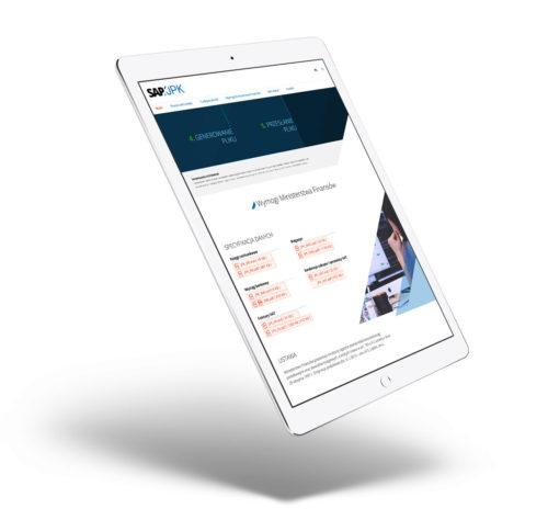 SAP-JPK - strona www z RWD na tablecie wizualizacja na mockupie