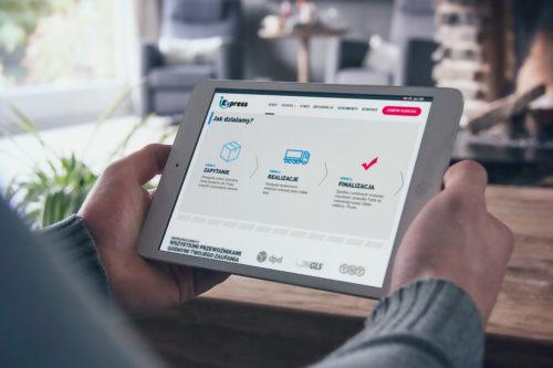 Wizualizacja strony internetowej na ipadzie - iExpress transport spedycja logistyka
