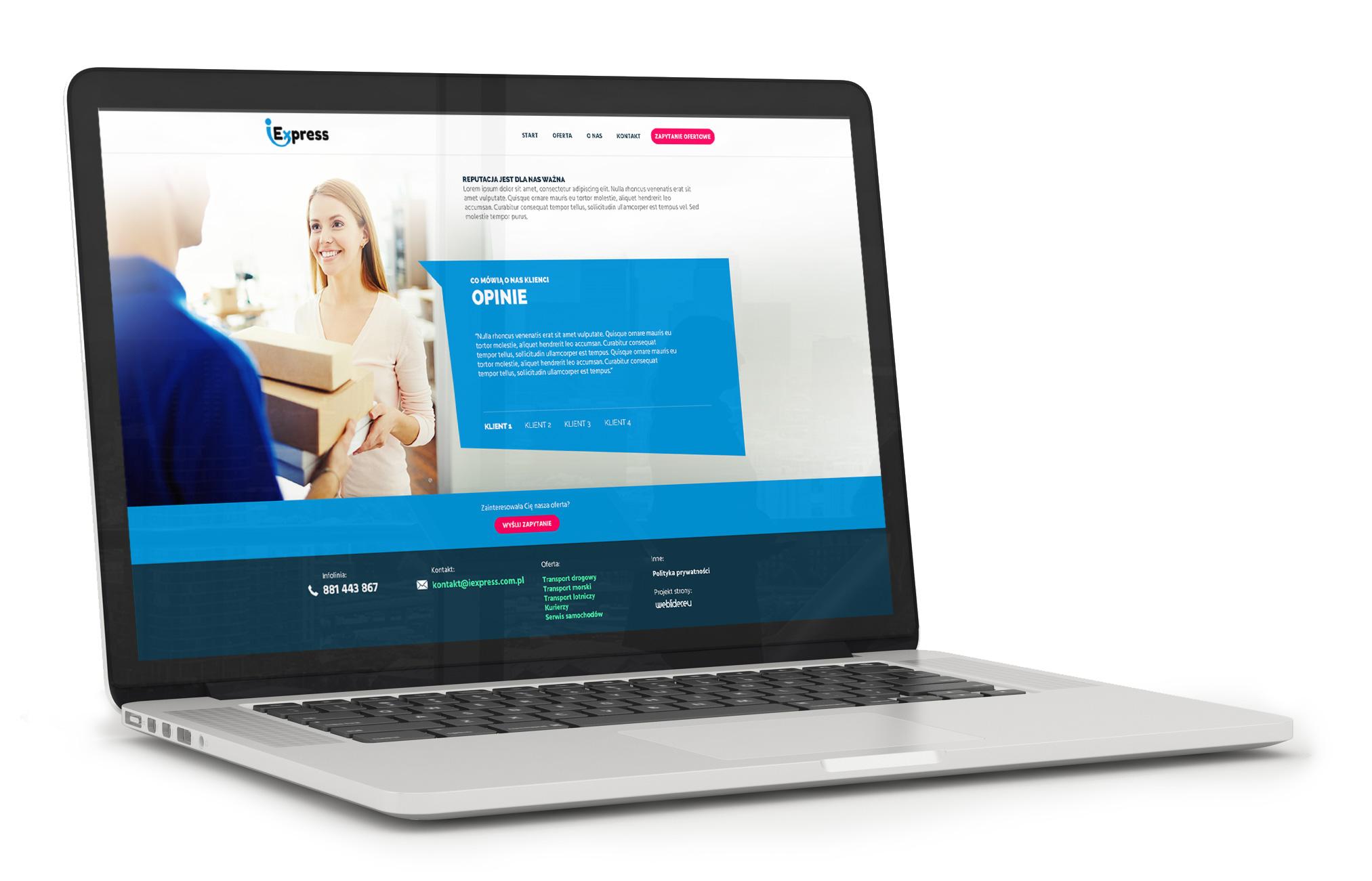 Mockup strony internetowej iExpress - transport i logistyka