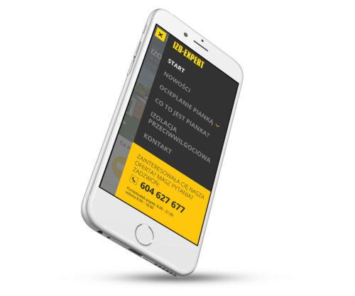 Burger menu w wersji mobilnej strony internetowej dla IZO-EXPERT - ocieplanie pianką
