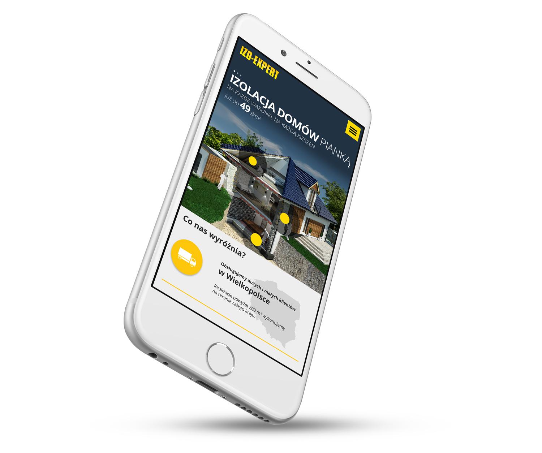 IZO-EXPERT - wizualizacja strony internetowej w wersji mobilnej