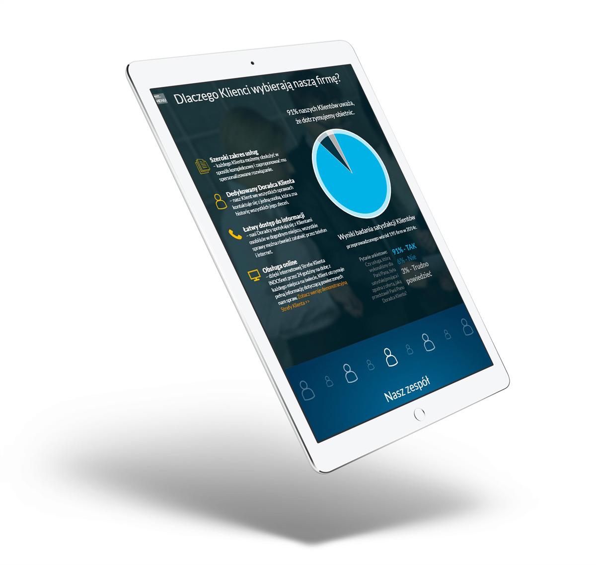 Indos S.A. - projekt nowej strony internetowej - widok projektu na tablecie