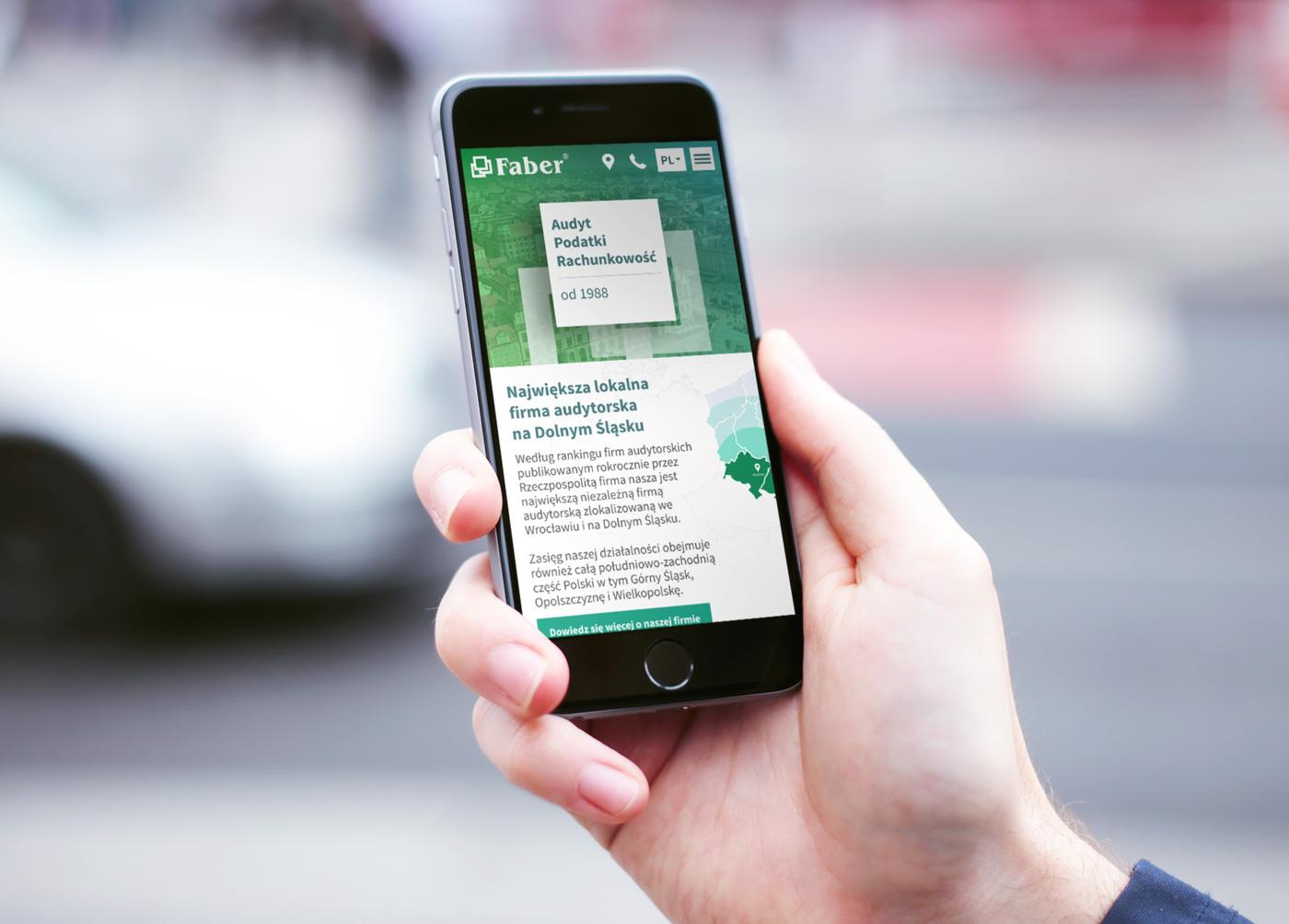 Faber - strona internetowa na telefonie mockup