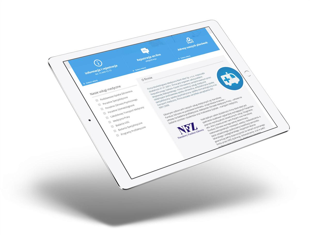 Strona www z branży medycznej na tablecie - Mark-Med
