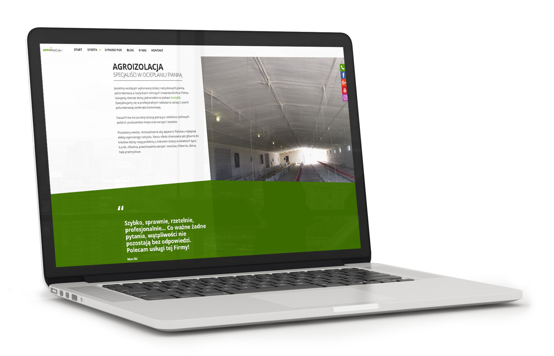 Agroizolacja - wizualizacja strony internetowej na laptopie