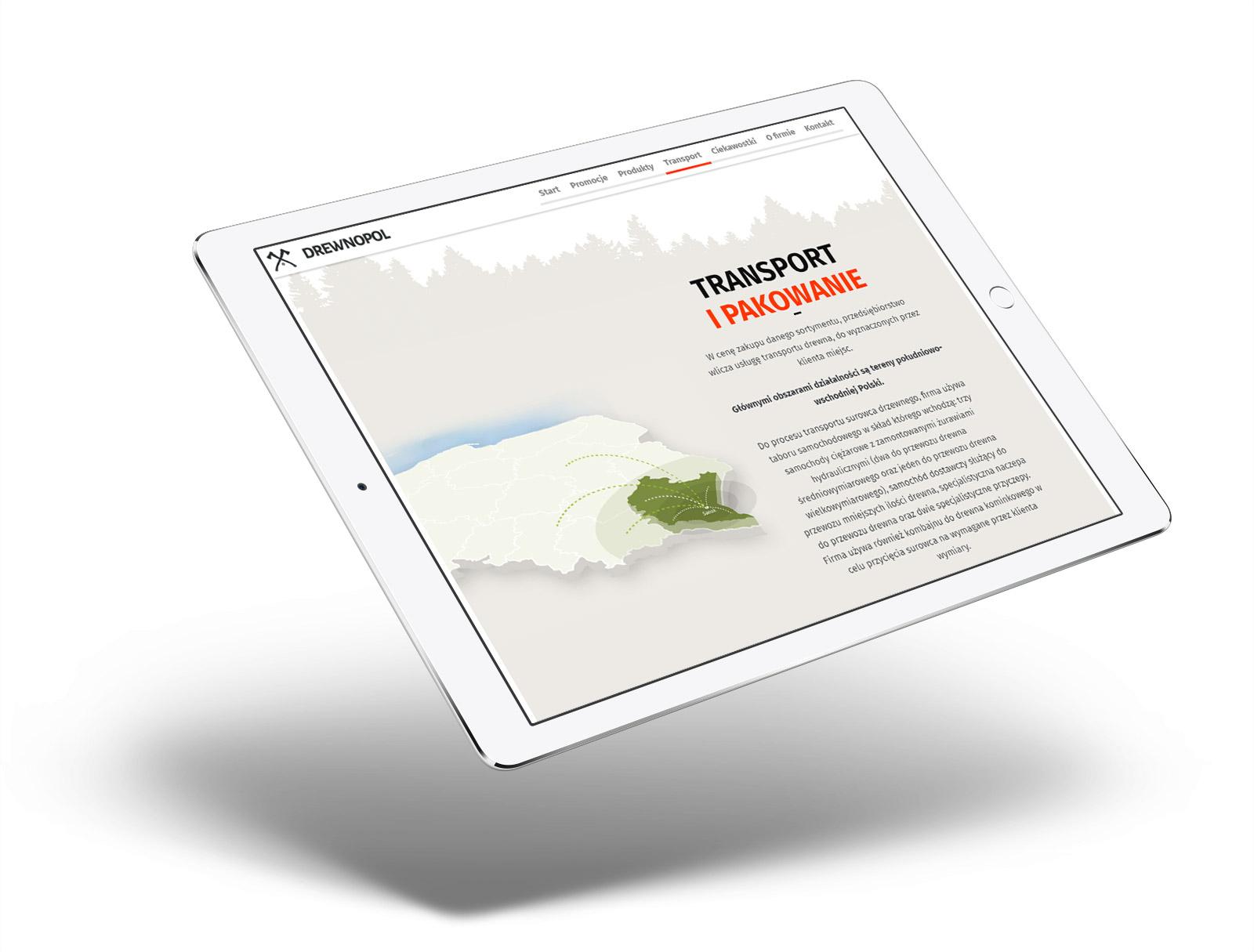 Drewnopol - strona internetowa na tablecie