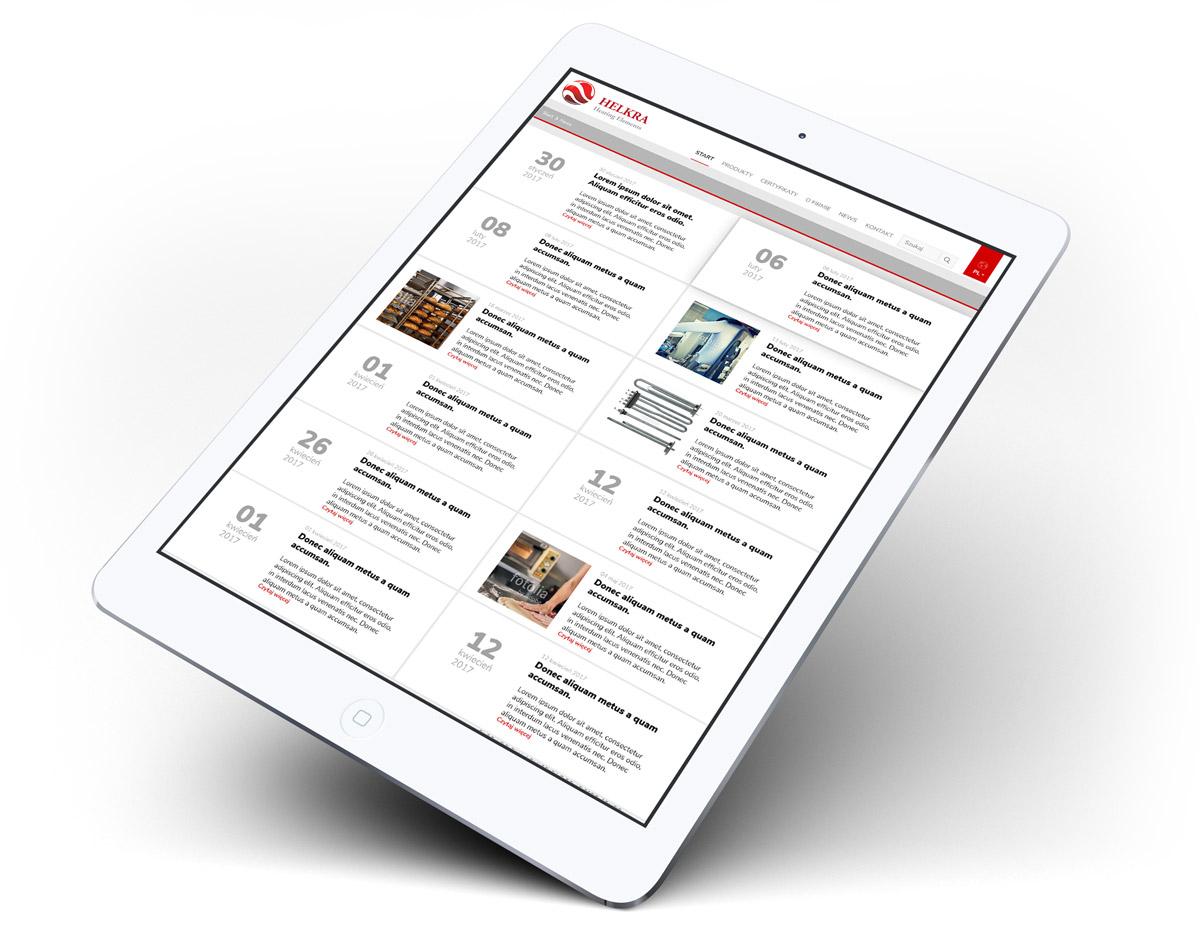 Helkra - projekt strony internetowej, widok na tablecie