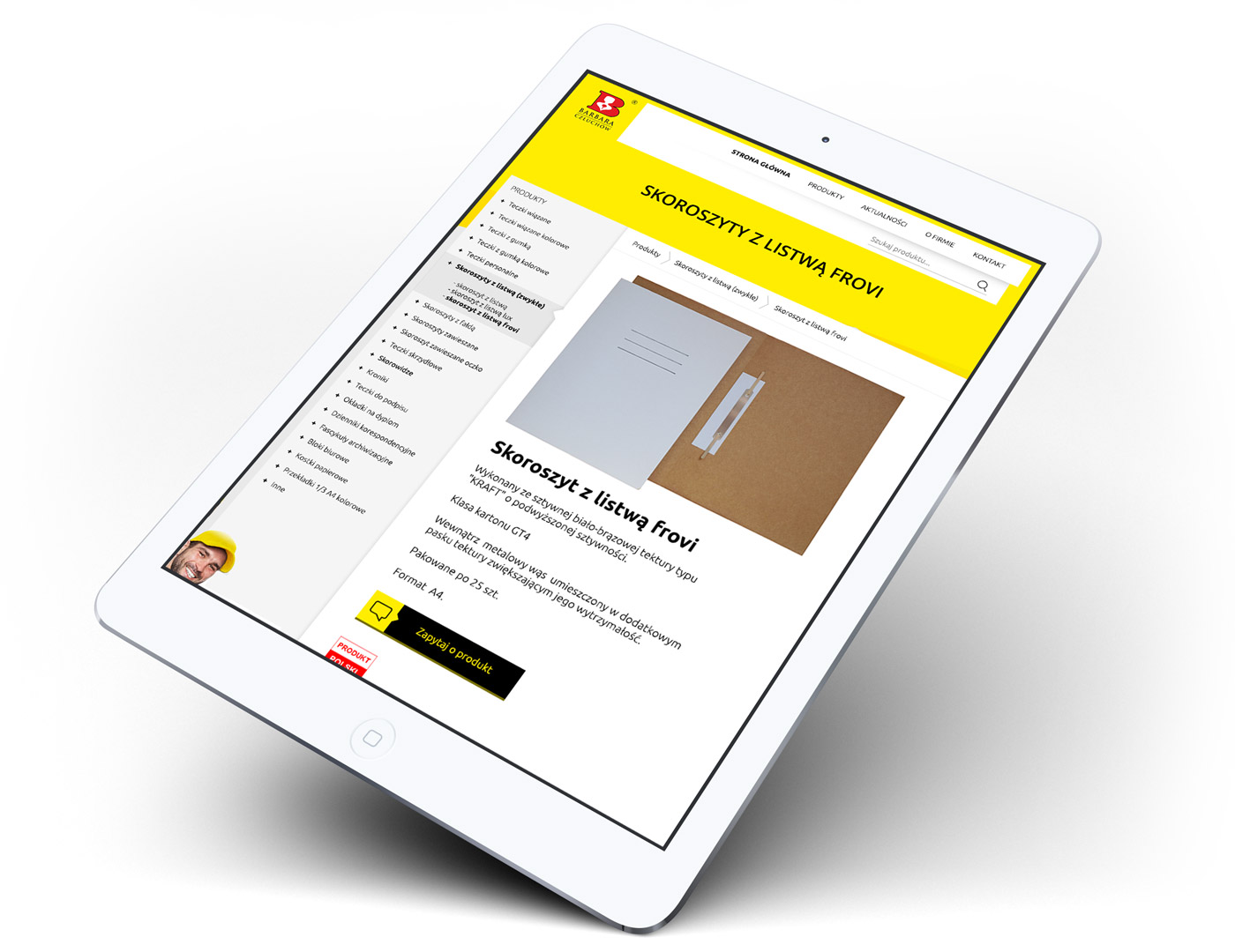 Widok karty produktu na stronie www firmy Barbara Sp. J. z Człuchowa, producenta artykułów biurowych
