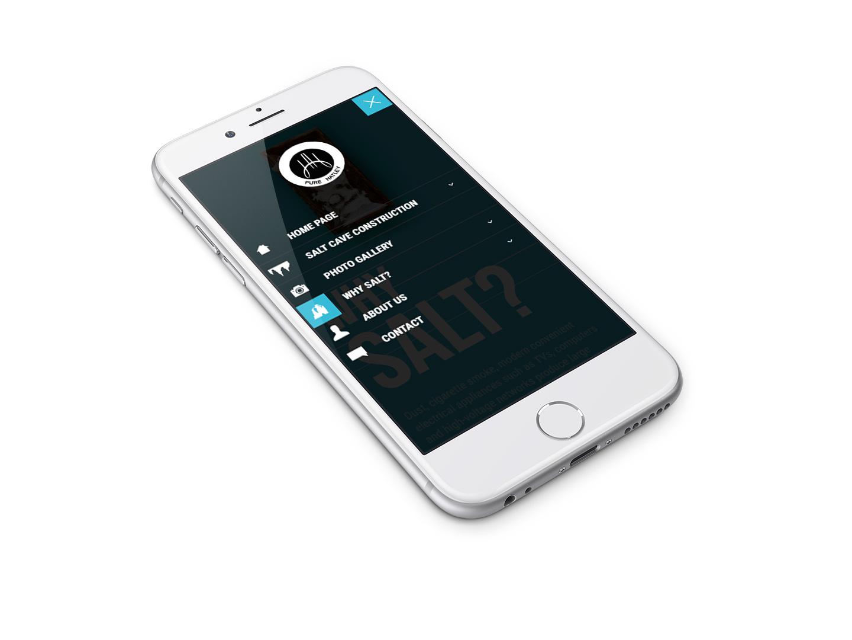 Menu w wersji mobilnej strony internetowej - na telefonie