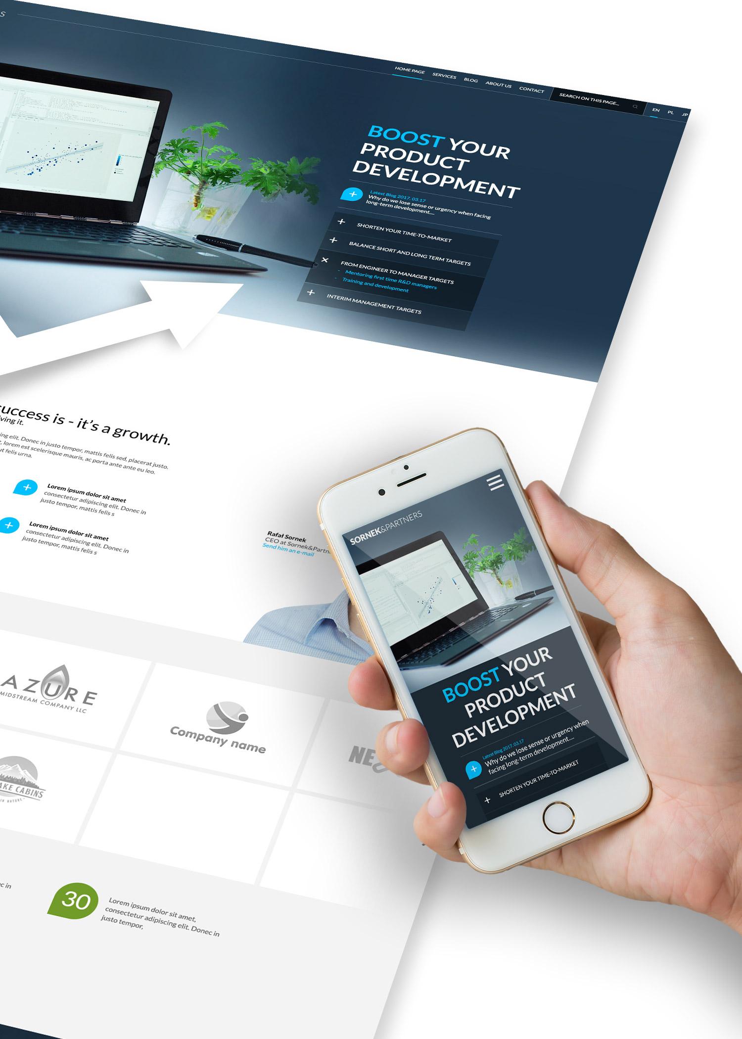 Strona internetowa dla firmy Sornek & Partners - mockup z wizualizacją