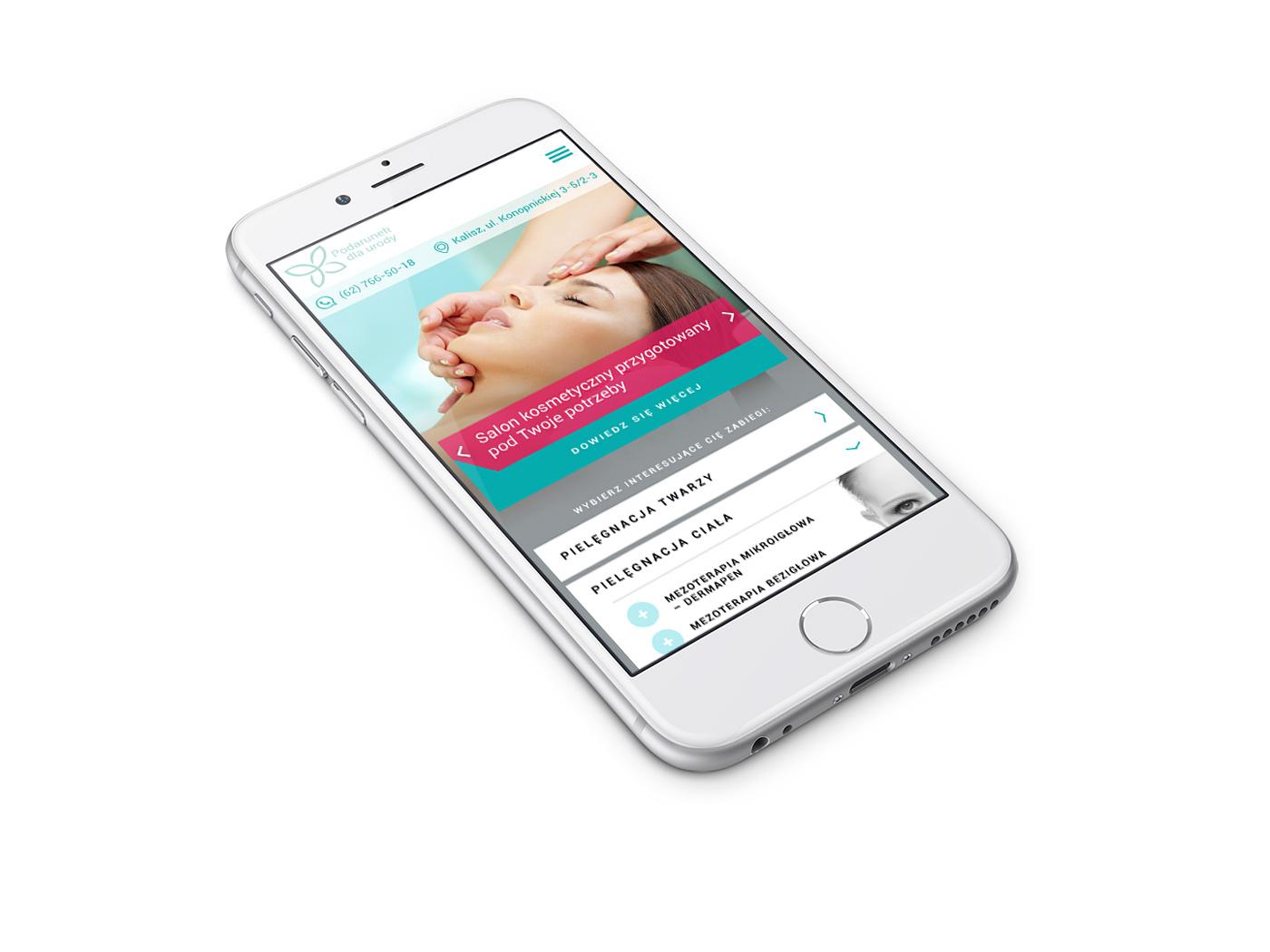 Podarunek dla urody - slaon kosmetyczny, strona internetowa w wersji mobilnej na smartphonie